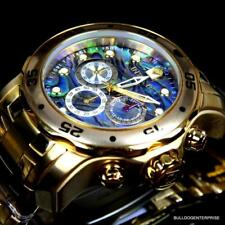 Invicta Pro Diver Scuba Abalone 18kt Gold Plated Chronograph 48mm Watch New