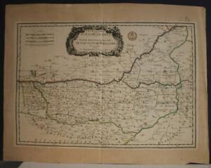 PERIGORD FRANCE 1659 SANSON & MARIETTE UNUSUAL ANTIQUE COPPER ENGRAVED MAP