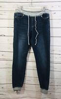 Rue 21 Womens Jeans Size M Medium Pull On Pants Blue Denim Drawstring Juniors