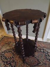 * ANTIQUE PRIMITIVE FOLK ART SPOOL TABLE * HAND MADE, SIGNED * EARLY 1900'S *