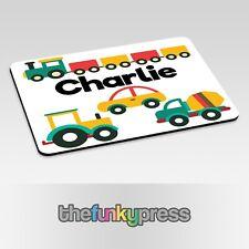 Personalizzato Tovaglietta Auto Treni Trattori Bambini Regalo Mat Piatto Add Any