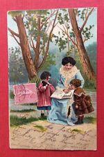 CPA. Maman. Petits Enfants. Livre d'Images. Parc. Charmante Carte.