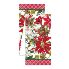 """Michel Design Works Christmas Merry & Bright Poinsettia 108"""" Cotton Table Runner"""
