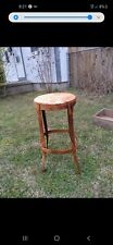 New listing Mid Century Industrial Age Metal Bar Stool Leather Top Steampunk Man Cave Vintag