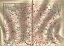 1888 London Grossbritannien - alte Karte Stadtplan Antique City Map Lithographie