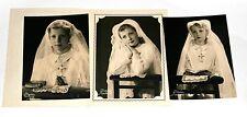 Jeune fille communiante communion  - lot 3 photos anciennes an. 1950 60 18x13 cm