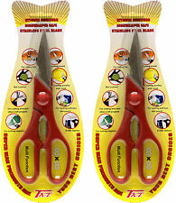 "Lot of 2 Kitchen Shears Stainless Steel Fish Chicken Bone Serrated Scissors 8""in"