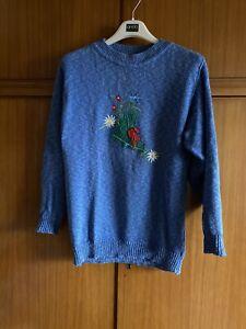 Damen-Trachten-Pullover Von WiKo-Trachten, blau, Gr. 38/M