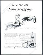 1940 Jameson's Irish Whiskey highball glass art vintage print ad