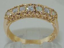 Solid 9ct Yellow Gold Natural Opal & Diamond Traditional Eternity Band Ring