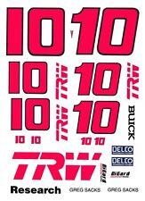 #10 GREG SACKS TRW 1/43rd Scale Slot Car Decals