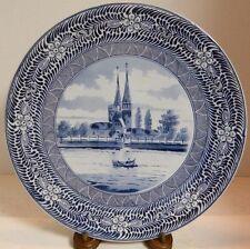 Antique Franz Anton Mehlem Bonn, Germany Blau Holland Wall Plate / Charger Exc