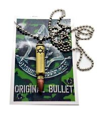 "IDF Israel Defense Force Bullet pendant 24"" necklace Tzahal jewelry Star David"