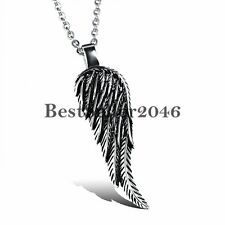 Men's Fashion Vintage Stainelss Steel Angel Wings Feather Pendant Necklace Chain