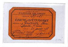 CAEN FACULTE DE DROIT CARTE D' ETUDIANT 1928
