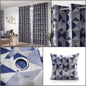 Navy SKANDI Geometric Jacquard Lined Ready Made Eyelet / Ring Top Curtains Pair