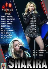 "SHAKIRA ""SHE WOLF TOUR"" 2010 UNITED STATES CONCERT POSTER - Pop, Latin Pop,Dance"