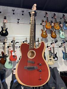 Fender Acoustasonic *PLEK'D & SET UP* Telecaster - Crimson Red Free Shipping!