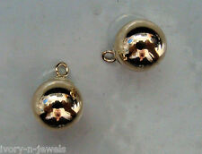 Hollow 8mm Ball Drops INTERCHANGEABLE Earring Charms SOLID 14K YG 1 Pair