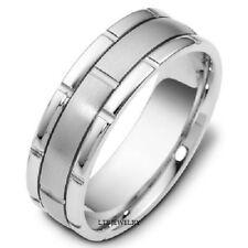 14K White Gold Mens Wedding Bands Rings Handmade Satin & Shiny Finish 7Mm