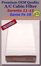 SantaFe 10/Sorento 11-15 Premium Quality A/C Cabin Filter C36158 x2  97133-1U000