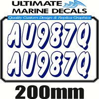 Boat Rego 200mm Keyline Registration Sticker Decal Set of 2