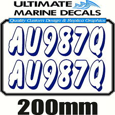 Boat Rego 200mm Keyline Registration Sticker Decal Set of 2