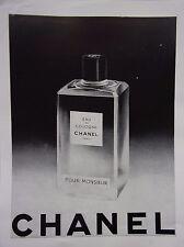 page de publicité   EAU DE COLOGNE MONSIEUR de  CHANEL   1957  ref. 42151