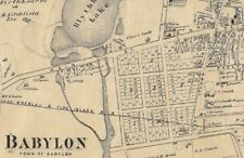 Babylon Long Island NY 1873  Map with Businesses & Homeowners Names Shown