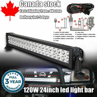 24inch 120W LED Work Light Bar Spot Flood Combo Offroad Truck SUV ATV Jeep Ford