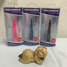 Tweezerman Stainless Steel Slant Tweezer Multiple Colors (Pink Black Blue)