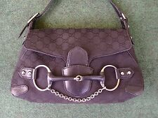 Gucci HorseBit HandBag Monogram Purse Black Tom Ford Canvas Leather Shoulder Bag