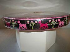 Vintage Jacquard Embroidered Ribbon Trim Black With Pink Poodles Unused 50 Yards