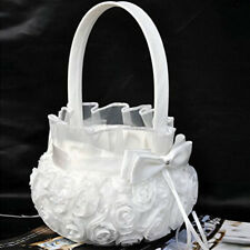 White Romantic Rose Bowknot Satin Wedding Ceremony Party Flower Girl Basket