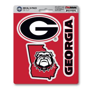 New NCAA Georgia Bulldogs Premium Vinyl Die Cut 3-Pack Decal / Sticker
