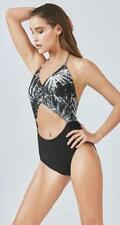 Fabletics Brielle One-Piece Monokini Swimsuit XL 12-14 Paradise Print/Black NWT