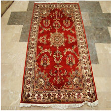 Ivory Touch Rust Orange Oriental Hand Knotted Rug Wool Silk Carpet 5 x 3 Inch
