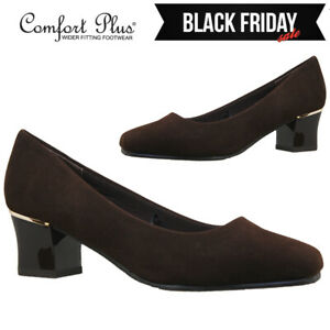 WOMENS COURT SHOES LADIES WIDE FITTING CLASSIC CASUAL FORMAL WORK MID HEELS SIZE