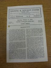 17/02/1951 Tooting And Mitcham United Reserves v Tunnel Sports [Lonon Intermedia