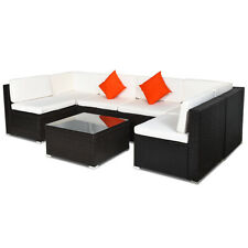 7 Pieces Patio Rattan Furniture Set Sectional Sofa Cushioned Glass Table Outdoor