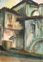 1988 Impressionist watercolor painting cityscape signed