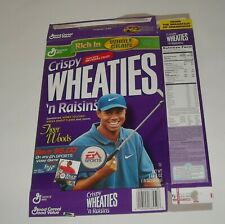 1999 GENERAL MILLS CRISPY WHEATIES 'n RAISINS CEREAL BOX FLAT TIGER WOODS COVER