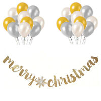 Gold Silver Pearl Balloon Set Merry Christmas Gold Glitter Snowflake Banner 6ft