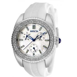 Invicta Angel 28486 Women's Mother of Pearl White Silicone Band Crystals Watch