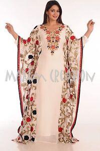 KURDISH WEDDING DRESS WITH RED & BLACK FLOWER EMBROIDERY ROBE ARABIC KAFTAN 5070