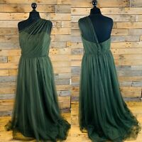 Stunning Alfred Angelo Olive Green Tulle Empire Ballgown Evening Dress UK 18 NEW