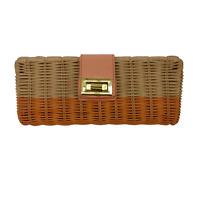 J. CREW Orange Straw Havana Clutch Woven Wicker Gold Turn Lock Summer Bag EUC