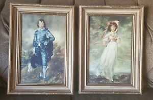 "Vintage ""Blue Boy"" & ""Pinkie"" Beautiful Vivid Pictures w/Vtg Frames 12.5""x 17.5"""