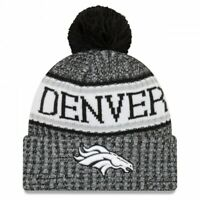 New Era Denver Broncos NFL 2018 Sideline Cuffed Pom Knit Beanie Cap Black/White
