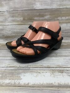 Naot Womens Slingback Strappy Comfort Sandals Black Leather Size 37 US 6